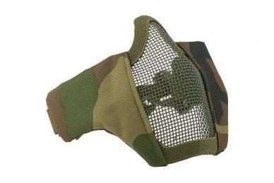 """Apsauginė veido kaukė """"Stalker Evo Mask"""" Olive su tvirtinimu prie FAST šalmo Woodland 3"""