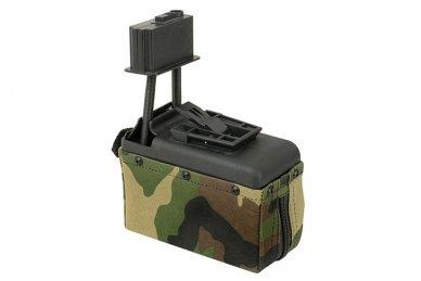 Elektrinė dėtuvė airsoft kulkosvaidžiui M249 - WOODLAND [A&K] 1500 šovinių 2