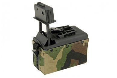 Elektrinė dėtuvė airsoft kulkosvaidžiui M249 - WOODLAND [A&K] 1500 šovinių